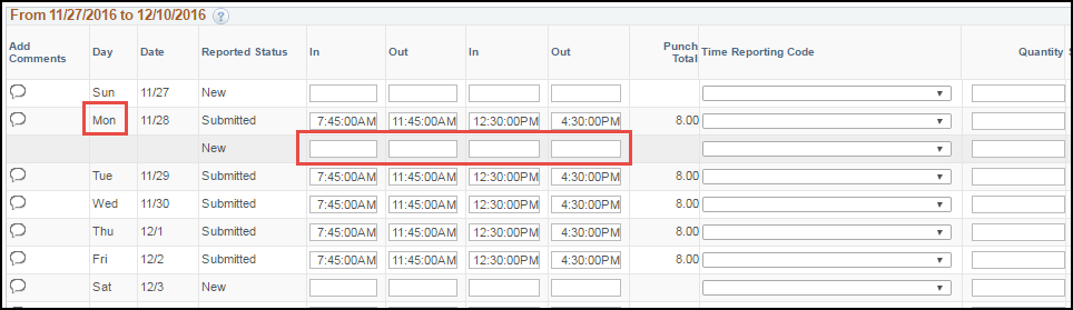 ESS Punch Timesheet with Multiple Shifts