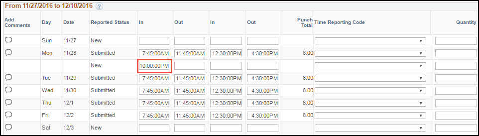 ESS Punch Timesheet with Multiple Shifts In Punch