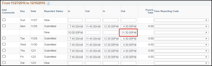 ESS Punch Timesheet with Multiple Shifts Out Punch