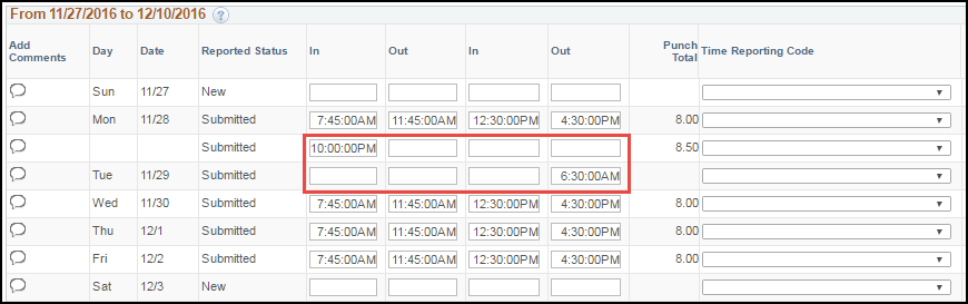 ESS Punch Timesheet with Multiple Shifts Past Midnight