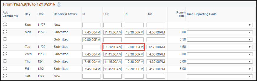 ESS Punch Timesheet with Multiple Shifts Past Midnight with Lunch Punches
