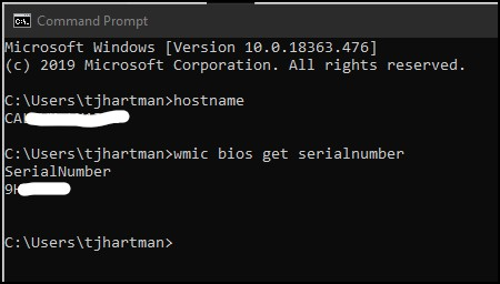 Example of commands:  hostname and wmich bios get serialnumber