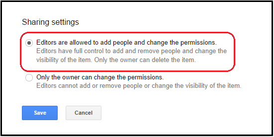 Editor sharing permissions