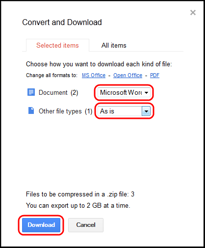 Convert and Download menu