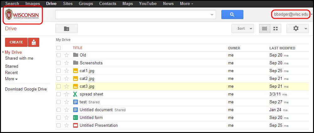 Google Drive menu with UW logo and @wisc.edu email address