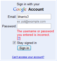 The username or password you entered is incorrect