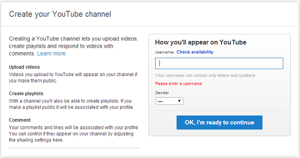 Create your YouTube channel screen