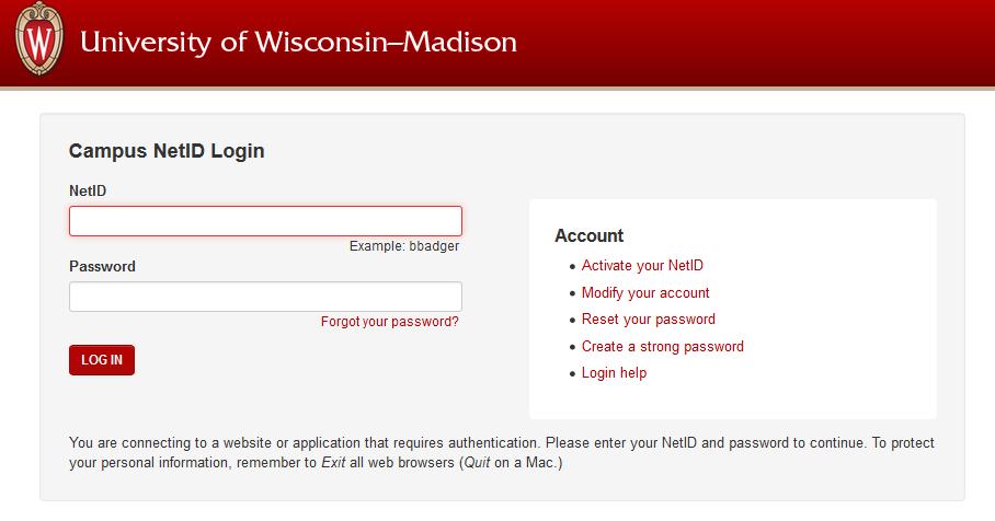 Screenshot of the NetID login screen