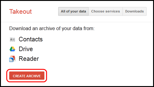 Screenshot of Create Archive button