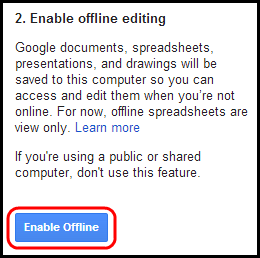 Screenshot of Enable Offline button
