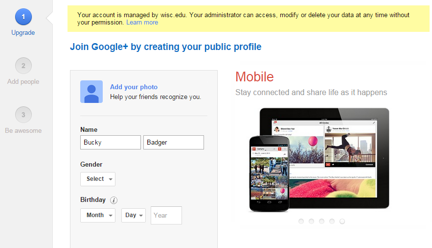 Screenshot of Creating your public profile