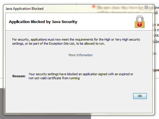 Java Application Blocked by Security