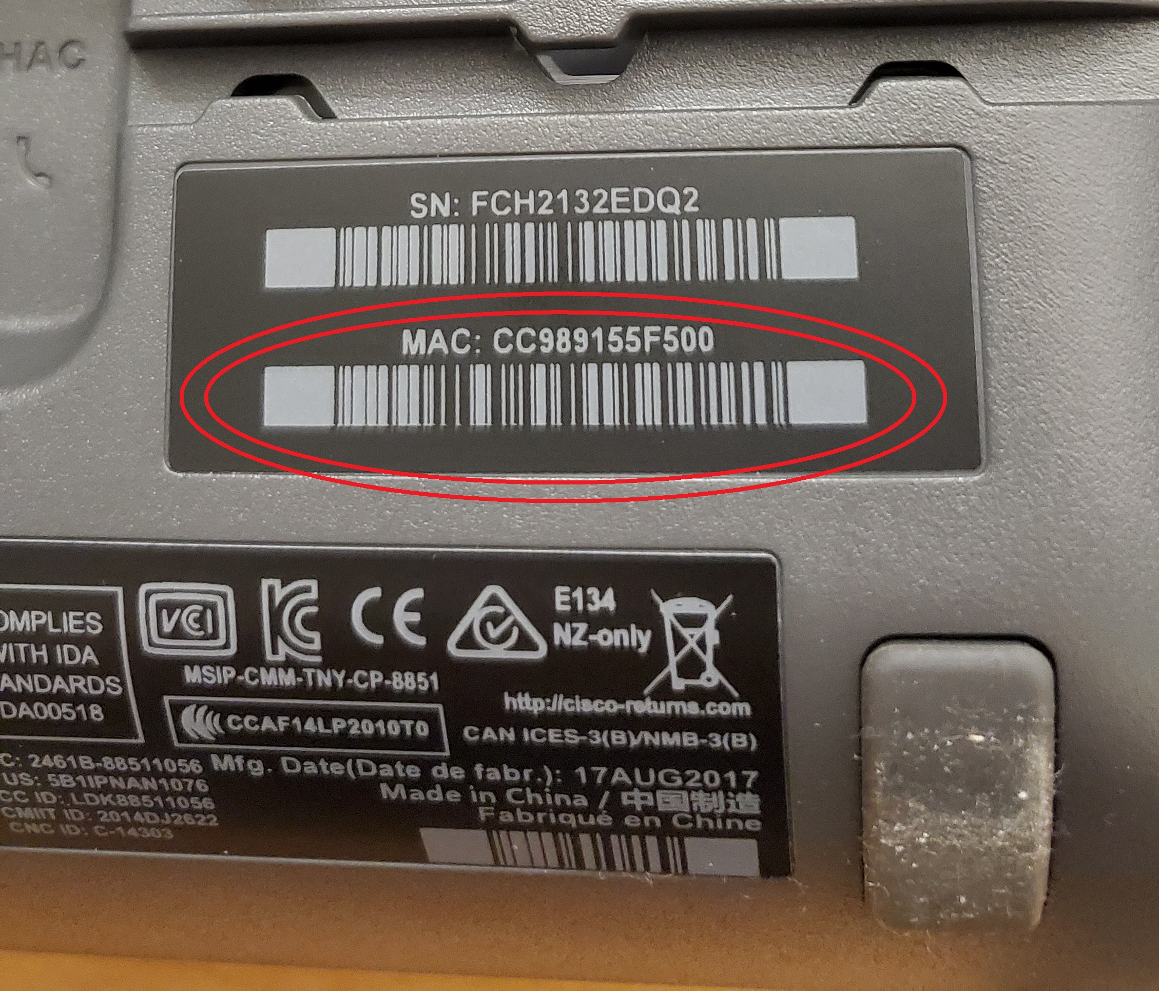 circled mac address on the back of the phone