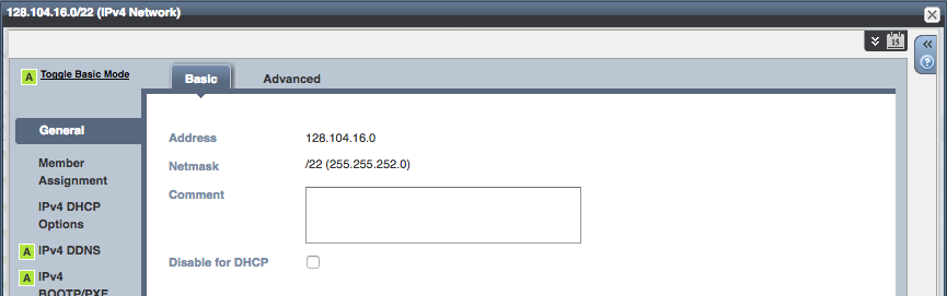 DHCP subnet scheduled changes - Click on the calendar icon in the upper right corner