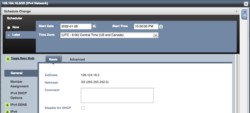 DHCP subnet scheduled change - enter date and time