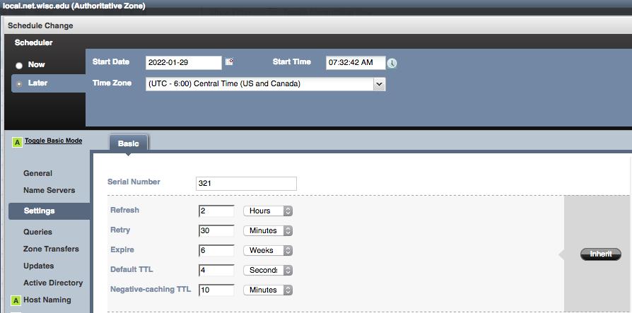 DNS zone scheduled change - update desired setting