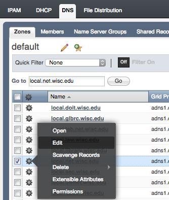 DNS zone scheduled change - edit zone