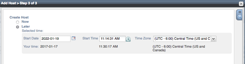 Object add - select time and date for object to be added