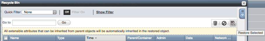 RECYCLE - delete, restore, empty inside Recycle Bin popup window