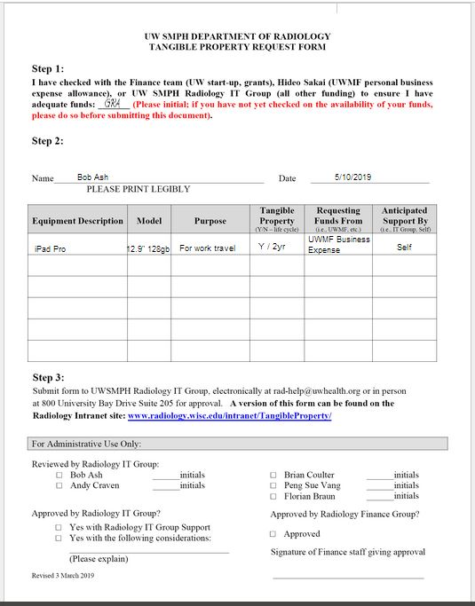 Example of Filled Out Form